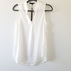 Ro & De Sheer White Sleeveless V-Neck